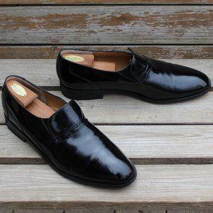 Vtg Dack's Black Polished Slip-on Loafer, EUC